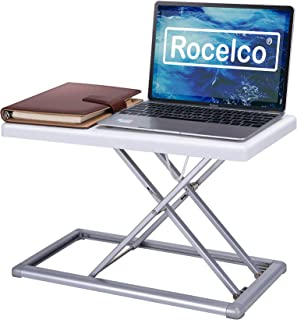 """Rocelco 19"""" Portable Desk Riser   Height Adjustable Travel Standing Desk Converter   Premium Compact Sit Stand Up Laptop Rising Workstation with Carry Bag   White (R PDRW)"""