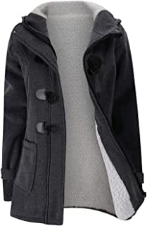 Womens Wool Blended Pea Jacket Coat Casual Hooded Outwer