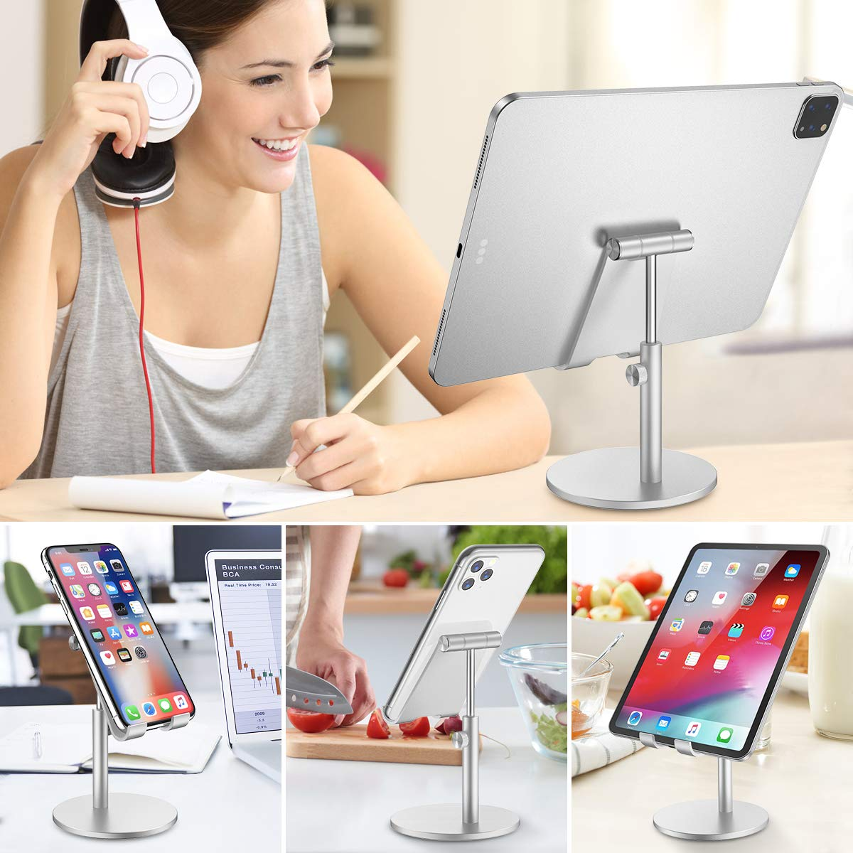 360 Degree Rotating Aluminum Alloy Cradle Mount Dock for iPhone Tablet etc 4-13 Screen Smartphone /& iPad Tablet Stand Samsung 2020 Upgraded Newest Height Adjustable Desktop Stand Holder