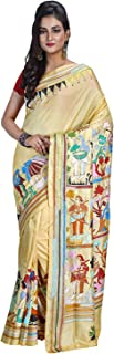 SareesofBengal Women's Silk Handloom Kantha Stitch Saree (Multicolour)