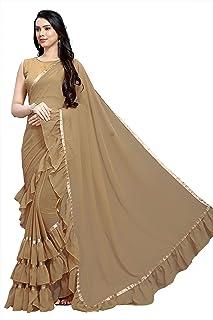 KFHub Saree for Women Indian Ethnic Designer Georgette Sari Ruffle Work Traditional Wedding Gift Dress Party Wear Sarees w...