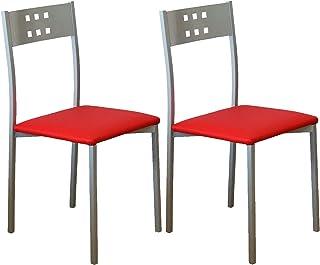 Miroytengo Pack 2 sillas Cocina Estilo Moderno Costa Color Rojo Comedor Pata Metal 86x47x41