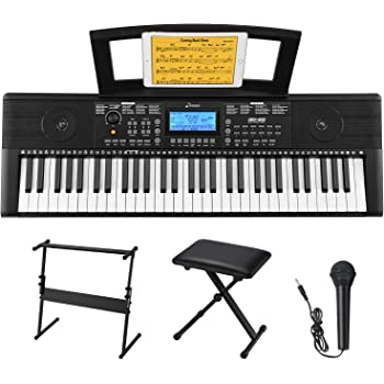 Donner DEK-610 61 Keys Electronic Keyboard Portable Electric Music Keyboard Piano with Full-Size Keys for Beginners, Include a Music Stand, Keyboard Stand, Stool, Microphone