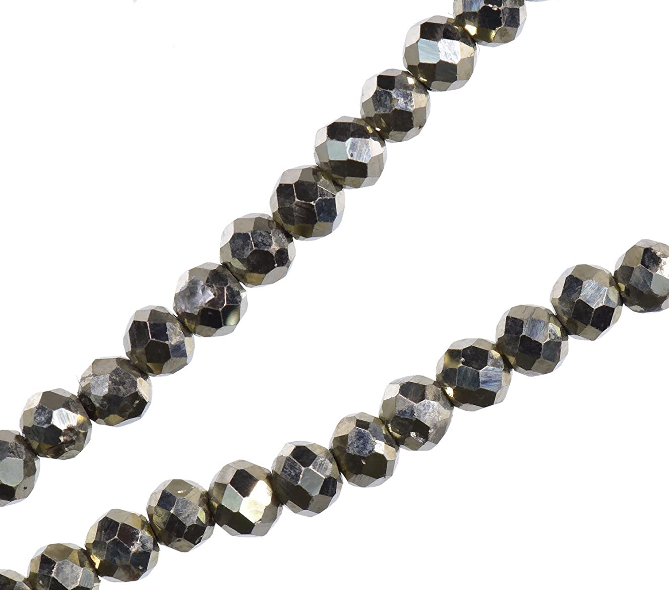 uGems Natural Pyrite Faceted Rondelle Beads ~2mm Strand