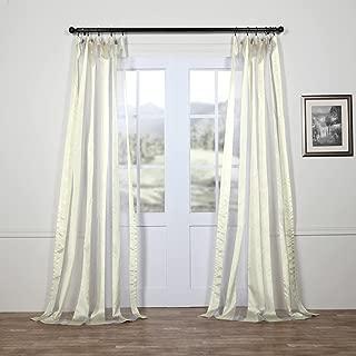 Shch-OCS173C-108 Organza Vertical Stripe Sheer Curtain, 50 x 108, Gloss White