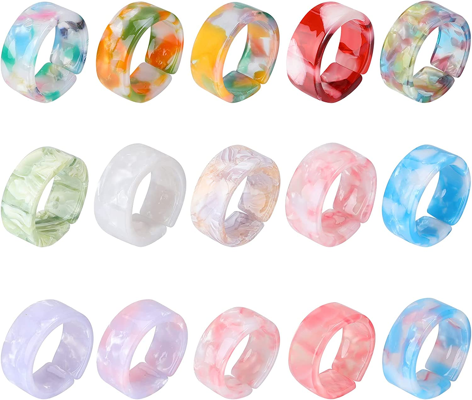 15 Pieces Resin Rings Selling Discount mail order rankings Acrylic Open Set Colorful Adjustable
