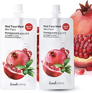 Sponsored Ad - Look At Me Mud Mask Minis (2-Pack) Pomegranate Korean Face Mask with Kaolin, and Bentonite Clay. Korean Ski...