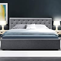 Artiss Ware King Bed Frame Fabric with Gas Lift Storage, Grey