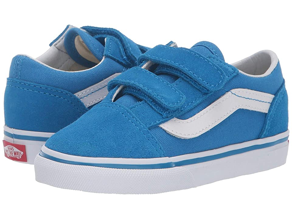 Vans Kids Old Skool V (Infant/Toddler) (Indigo Bunting/True White) Boys Shoes