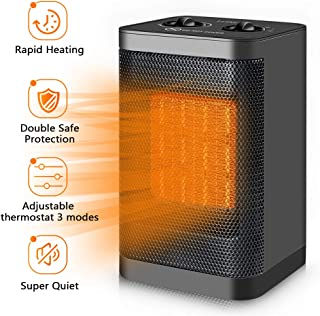 Space Heater Electric Ceramic Heater - 1500W/750W Portable Space Heaters for Home Indoor Use Office Bedroom Desk Garage,Small Personal Room Heater with Adjustable Thermostat,Double Safety Protection
