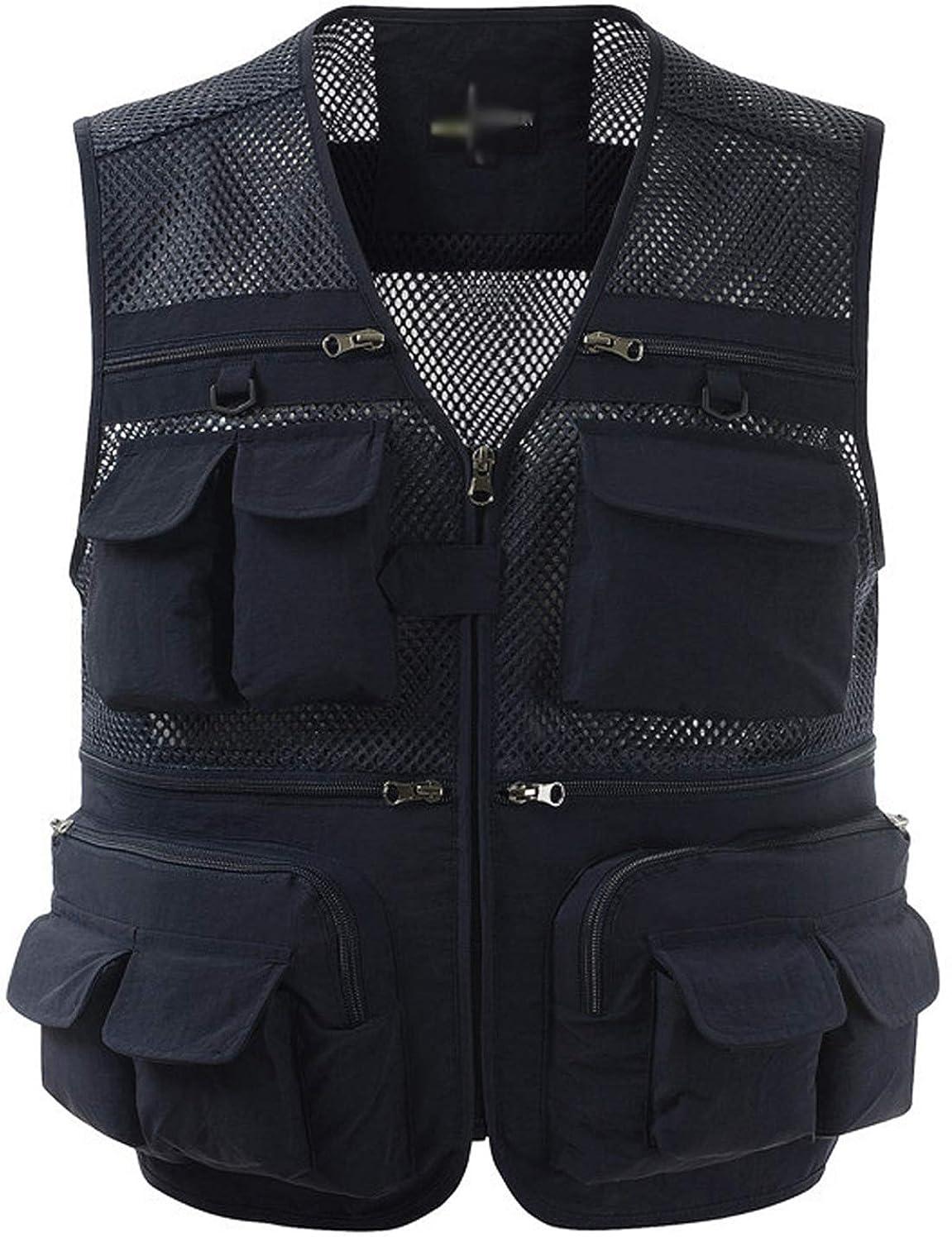 Zhusheng Mens Mesh Outdoor Work Fishing Travel Photo Vest with 16 Pockets Khaki