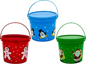 Christmas Candy Container (3 Pack) with Handle and Lid, Assorted Colors