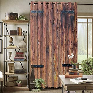Grommet Blackout Curtain,Antique Timber Planks in Weathered Tones with Locks Vintage Style Country House Picture Decorative,72x108inch,for Patio Door,Cream