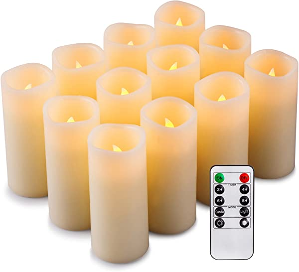 Enpornk Set Of 12 Flameless Candles Battery Operated LED Pillar Real Wax Flickering Electric Unscented Candles With Remote Control Cycling 24 Hours Timer Ivory Color