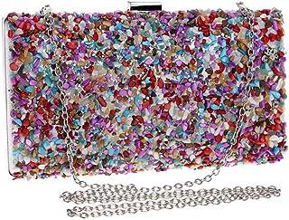 Fine Bag/Women's Banquet Bag Vintage Beaded Clutch Wedding Party Tote Banquet Bag (Color : Multi-Colored, Size : One Size)