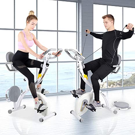 Exercise Bike, Folding Fitness Bike with Resistance Bands & Twister Plate & Heart Monitor