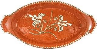Vintage Portuguese Glazed Terracotta Hand Painted Serving Platter (N.1 11