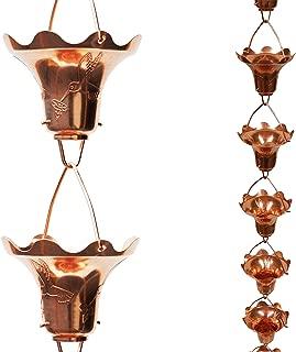 Stanwood Rain Chain Copper Hummingbird and Flower Decor, 8-Feet