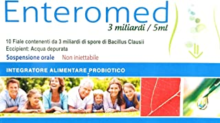 Enteromed, Ultimate Probiotic of 3 Milliards Live Spores of Bacillus Clausii in vials of 5ml Single-use,10 vials, Improve Digest Health, Boost Immunity, Prevent Diseases, Slows ageing.
