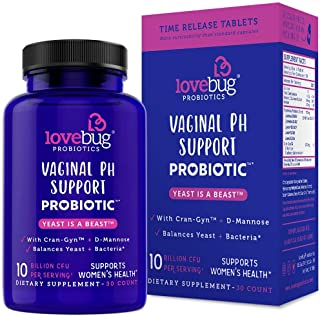 Lovebug Yeast Infection Support Probiotics - Feminine Women's Vaginal Health 30 Delayed Release Probiotic Tablets with Cranberry and D-Mannose Supplement - Promotes Urinary Tract + PH Balanced Flora
