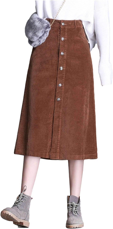 Springrain Women's Casual Corduroy Front Split Button Solid Color Midi A-Line Skirt