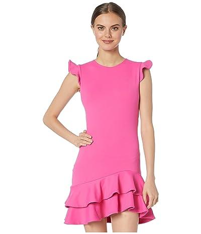 Susana Monaco Sleeveless Ruffle Hem Dress (Punch Pink) Women