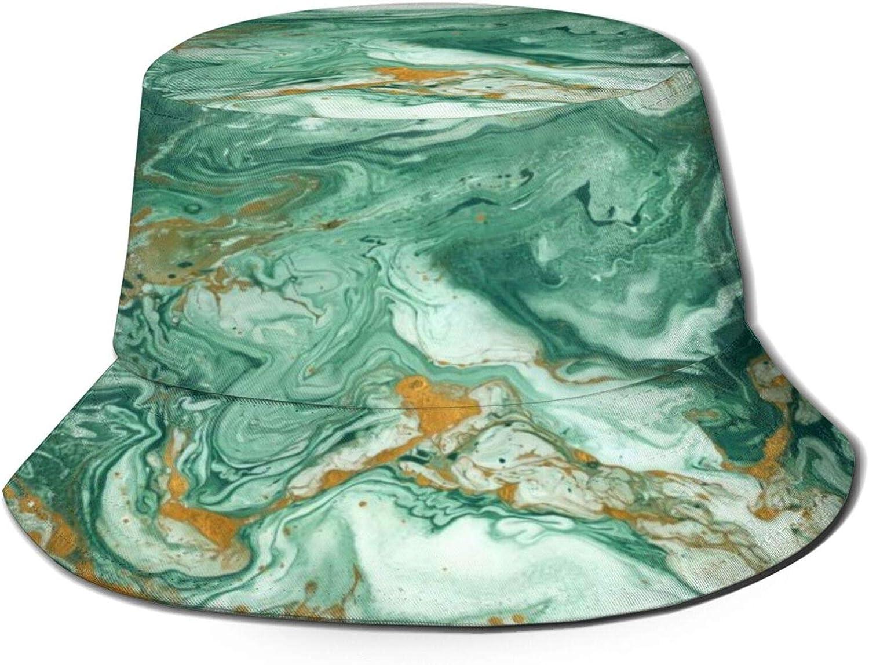 Ocean Swirls Marble Bucket Hat Unisex Sun Hat Summer Packable Fisherman Hats Black