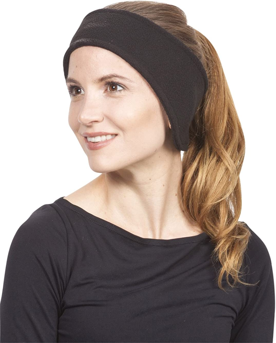 Mens/Womens Soft Stretch Fleece Headband Ear Warmer, Black
