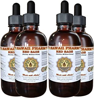 Red Sage Liquid Extract, Organic Red Sage (Salvia Miltiorrhiza) Tincture, Herbal Supplement, Hawaii Pharm, Made in USA, 4x4 fl.oz