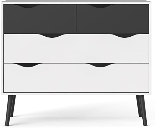 Tvilum 7539549gm Diana 4 Drawer Chest White Black Matte