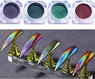 BORN PRETTY 4 Boxes Nail Art Chameleon Peacock holographic Mirror Powder manicuring Iridescent Pigment Laser colorful Neon Dust Glitter, 0.5g/box