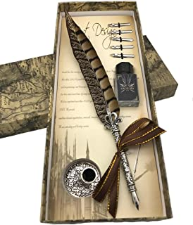 Calligraphy Pen Set,Writting Quill Feather Pen,100% Hand Craft, Real Feather and Stainless Steel Nib(Pheasant)