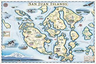 Northwest Art Mall San Juan Islands Hand-Drawn, Antique-Style Map by Artist Chris Robitaille. 12x18 inch XM-11166 B