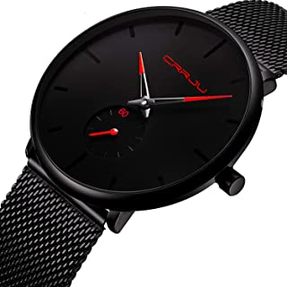 Mens Watch Deep Blue/Black Ultra Thin Wrist Watches for Men Fashion Waterproof Dress Stainless