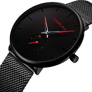 Mens Watch Deep Blue/Black Ultra Thin Wrist Watches for Men Fashion Waterproof Dress Stainless