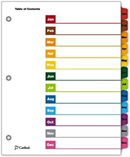 Cardinal OneStep Index System, 12-Tab, Monthly, Multi-Color, 1 Set (60318CB)