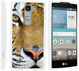 TurtleArmor   Compatible with LG Escape 2 Case   LG Logos Case   LG Spirit Case [Slim Duo] Slim Compact 2 Piece Hard Snap On Case Grip Matte Coating on White Animal - Tiger Stare
