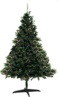 Unique Imports Rite-Aid 6 Ft. Spruce Hinged Artificial Christmas Tree Prelit with 225 UL Certified Multi-Color Lights & Durable Stand