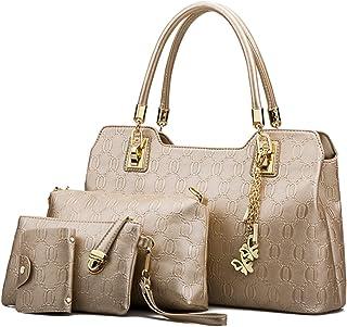 Leder Handtasche Damen Tasche Shopper Groß Schultertasche Umhängetasche 4-teiliges Set für Büro Schule Einkauf Reise,Gold