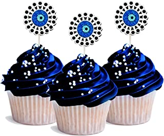 Evil Eye Cupcake Topper 12 pieces per Pack Decoration Glitter Foamy