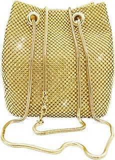 Women's Evening Bag- Full Rhinestones Bucket Bag Shining Crossbody Bag Shoulder Bag for Party Wedding Date Night