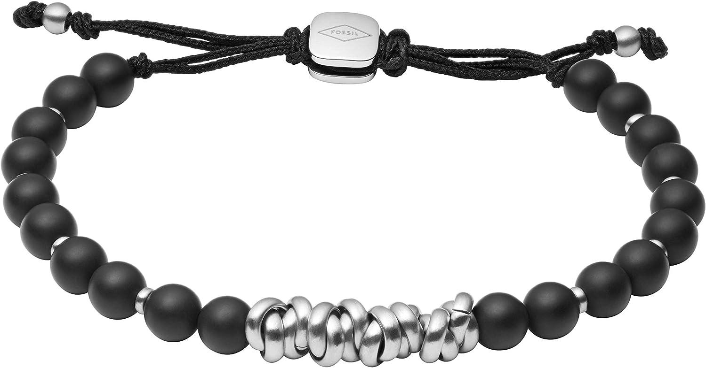 Fossil Men's Stainless Steel and Beaded Bracelet