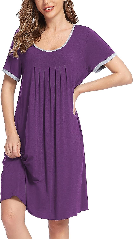 Women Nightshirts Short Sleeve Nightgown Soft Sleepshirts Round Neck Pleated Sleepwear Loose fit Night Gown Dress S-XXL