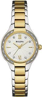 Bulova - Reloj analógico de Cuarzo para Mujeres, Correa de Acero Inoxidable, con Diamantes