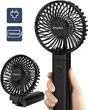 EasyAcc 2020 Ventilador de Mano Ventilador portátil Ventilador de Viaje para Exteriores con un Toque Apagado Recargable 3350mAh Mango Plegable Escritorio para hogar y Viajes - Negro