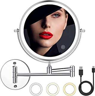 2000mAh Rechargeable Wall Mounted Makeup Mirror with Light 8inch 1X/10X Magnifying Lighted Makeup...