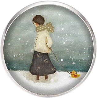 Spilla con perno in acciaio inossidabile, diametro 25 mm, spillo 0,7 mm, Fatto a Mano, Illustrazione Ragazza nella neve