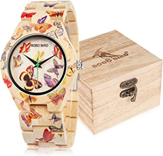 BOBO BIRD Women's Bamboo Watch Butterfly Engraved Handmade Wooden Casual Watches