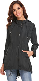 Zeagoo Women's Waterproof Lightweight Rain Jacket Active Outdoor Hooded Raincoat