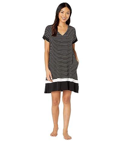 Donna Karan Modal Spandex Jersey Sleepshirt (Black Stripe) Women